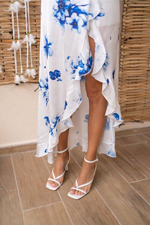 ANGELİNA JONES Boyence Beyaz Kadin Topuklu Parmak Arasi Sandalet 2