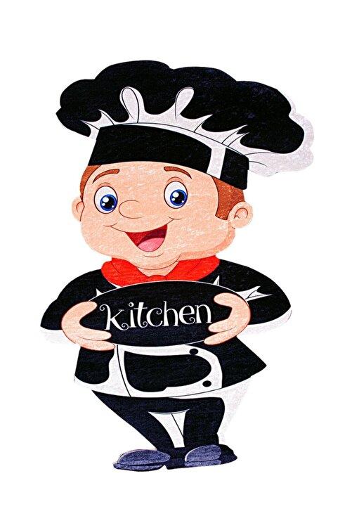 colizon Siyah Dekoratif Kaymaz Tabanlı Lazer Kesim Mutfak Halısı 2