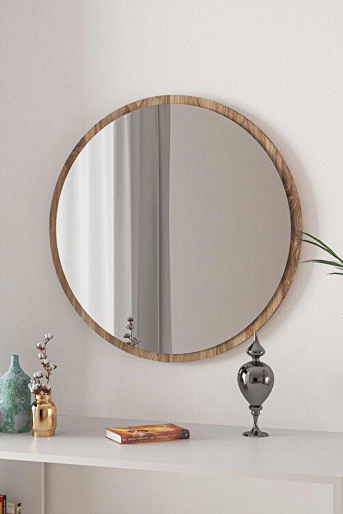 bluecape Yuvarlak Ceviz Duvar Salon Ofis Aynası 60 cm 2