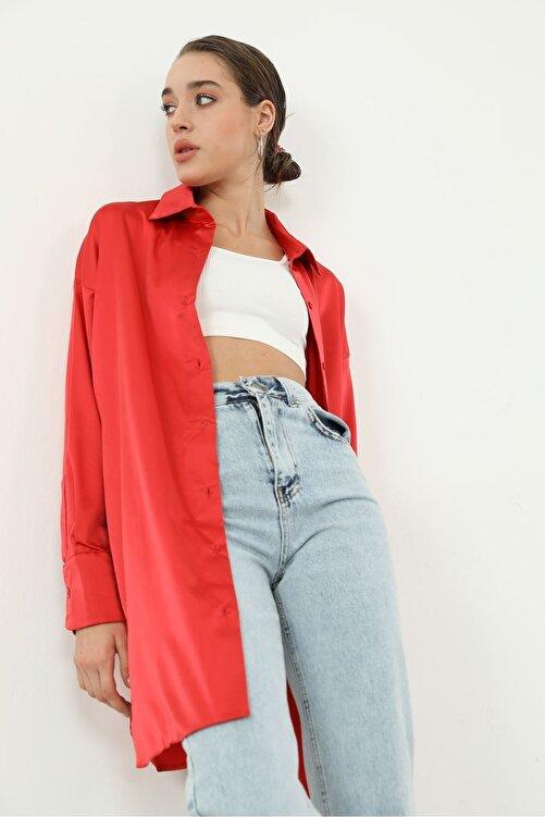 BY H Kadın  kırmızı  Saten Gömlek- 2