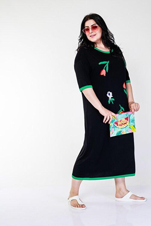 Ebsumu Kadın Büyük Beden Renkli Lale Işlemeli Siyah Elbise 2