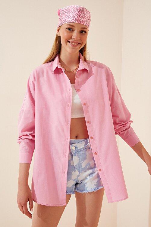 Happiness İst. Kadın Pembe Oversize Uzun Basic Gömlek  DD00842 1