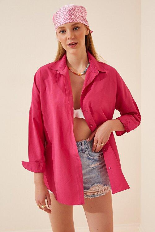 Happiness İst. Kadın Koyu Pembe Oversize Uzun Basic Gömlek  DD00842 2