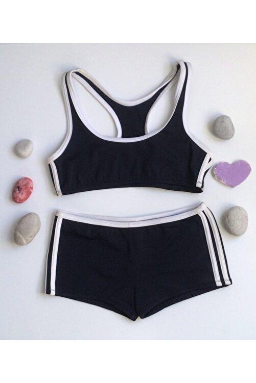 Kom Kız Çocuk Sporcu Bikini Lacivert Şortlu Bikini 1
