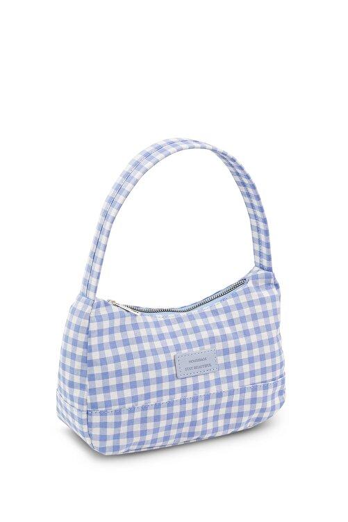 Housebags Kadın Pötikareli Mavi Baguette Çanta 197 2