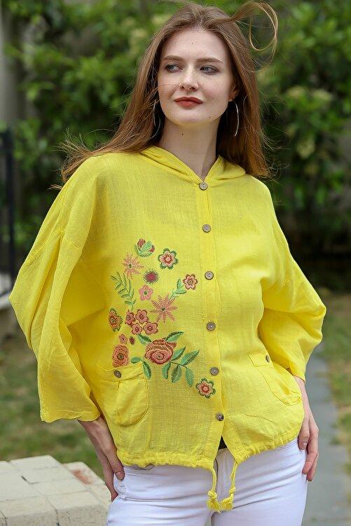 Chiccy Kadın Sarı Gül Baskılı Kapüşonlu Cep Detaylı Beli İp Büzgülü Dokuma Ceket M10210100CE99031 2