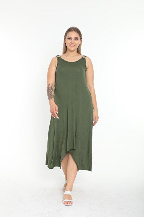 EGZ BUTİK Kadın Haki Halka Detaylı Büyük Beden Elbise 1