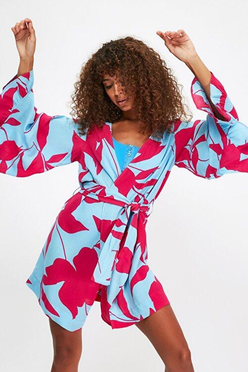 TRENDYOLMİLLA Renkli Çiçek Desenli Volanlı Viskon  Kimono&Kaftan TBESS21KM0002 1