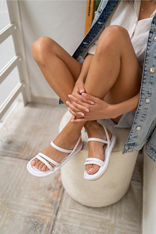 ANGELİNA JONES Marylan Kadin Beyaz Vegan Deri Sandalet 1