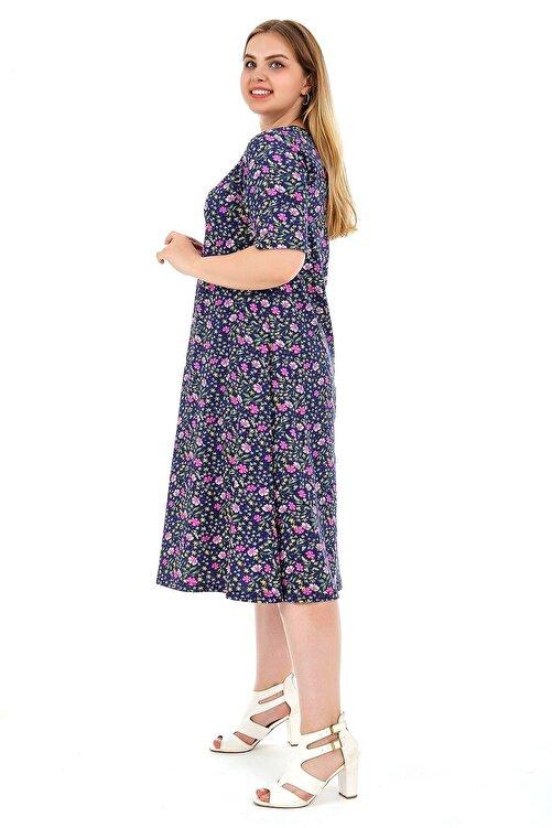 Dükkan Moda Kadın Büyük Beden Elbise Kısa Kollu Lila Papatya Desenli 2