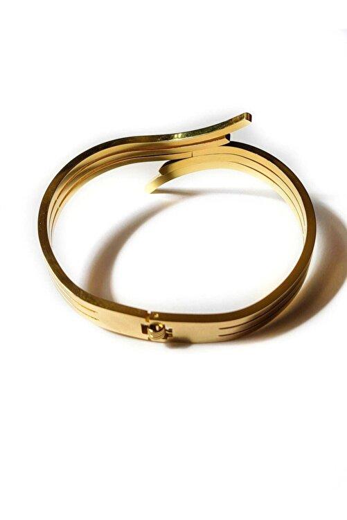 Elegante Altın Sarısı Çelik Kelepçe Bileklik 2