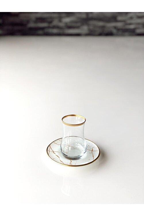 GÜRCÜGLASS Beyaz Mermer 12 Prç Çay Seti. 2