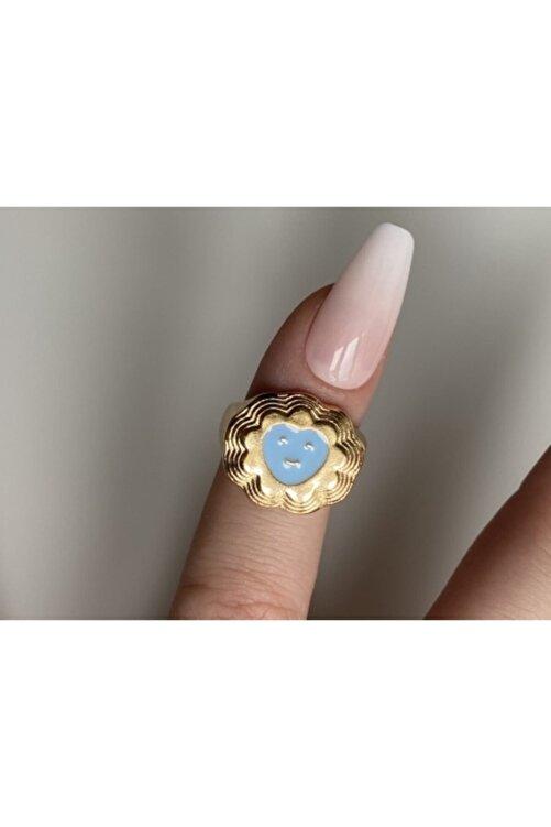 lesseffortless Mavi Smiley Kalpli Katmanlı Gold Yüzük 1