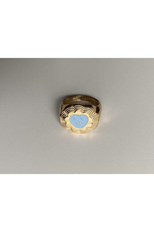 lesseffortless Mavi Smiley Kalpli Katmanlı Gold Yüzük 2