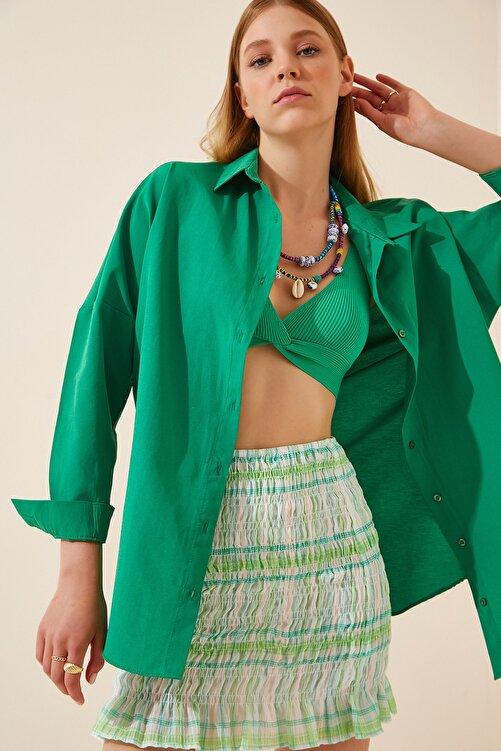 Happiness İst. Kadın Koyu Yeşil Oversize Uzun Basic Gömlek  DD00842 1