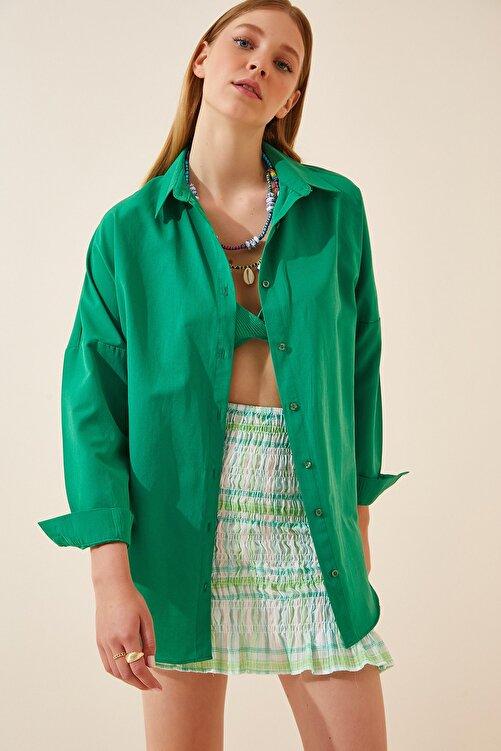 Happiness İst. Kadın Koyu Yeşil Oversize Uzun Basic Gömlek  DD00842 2