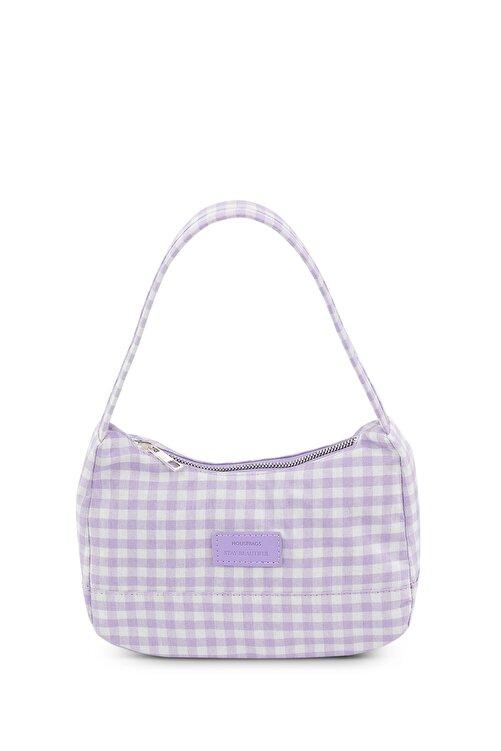 Housebags Kadın Pötikareli Lila Baguette Çanta 197 1