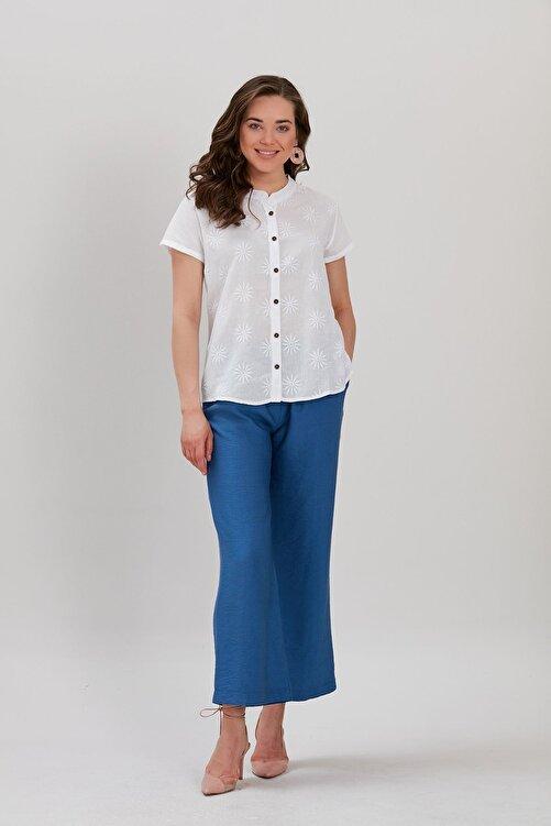 Y-London Kadın Ekru Nakışlı Bluz YL-BL99899 2