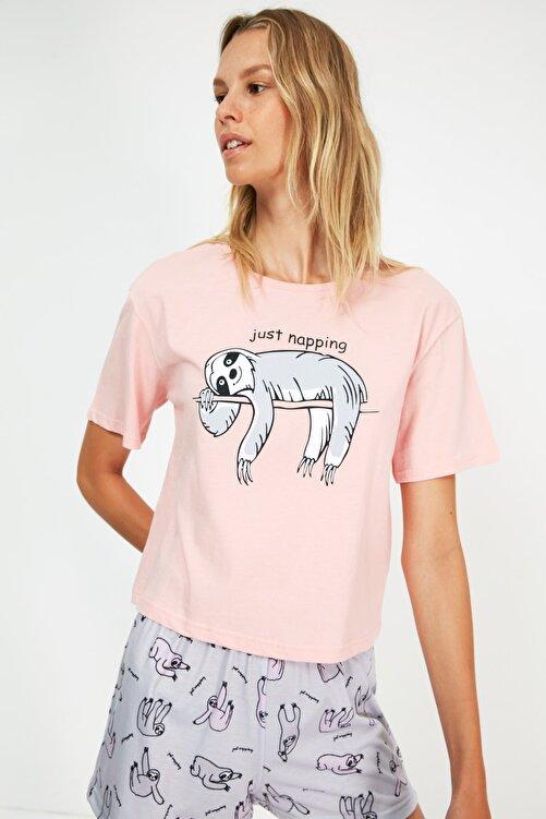 TRENDYOLMİLLA Çok Renkli Baskılı Pijama Takımı THMSS21PT1355 1