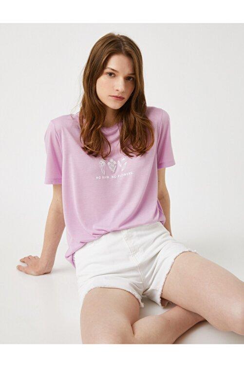 Koton Kadın Lila T-Shirt 1
