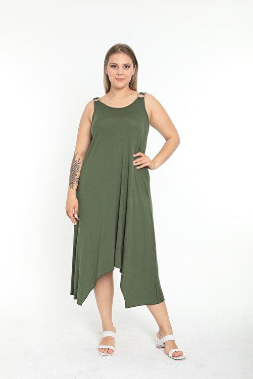 EGZ BUTİK Kadın Haki Halka Detaylı Büyük Beden Elbise 2