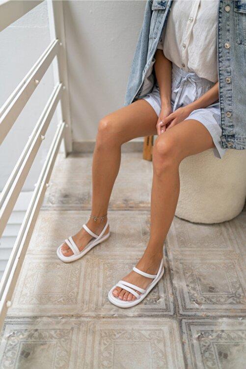 ANGELİNA JONES Marylan Kadin Beyaz Vegan Deri Sandalet 2