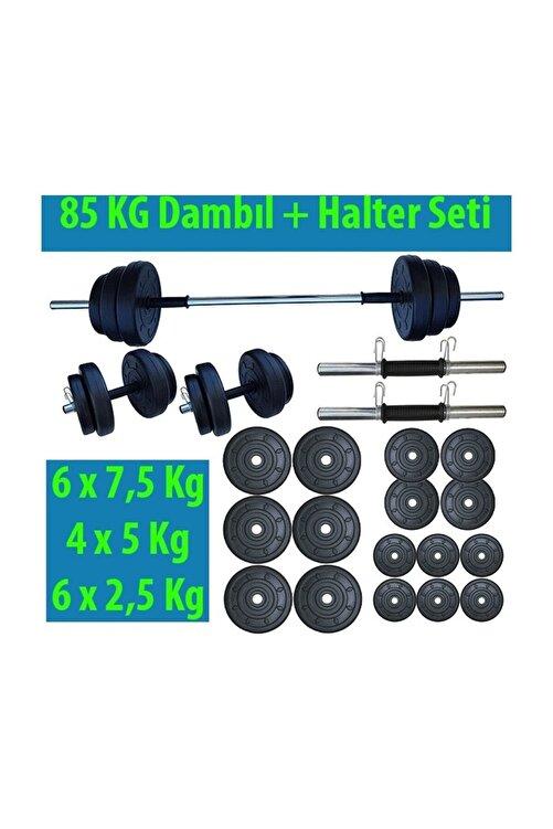 Dambılcım Halter Seti Dambıl Seti Ağırlık Ve Vücut Geliştirme Aleti 85 kg 2