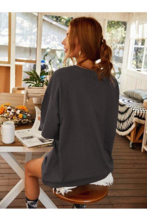 Millionaire Kadın Antrasit Oversize Celestial Sun Moon Baskılı T-shirt 2