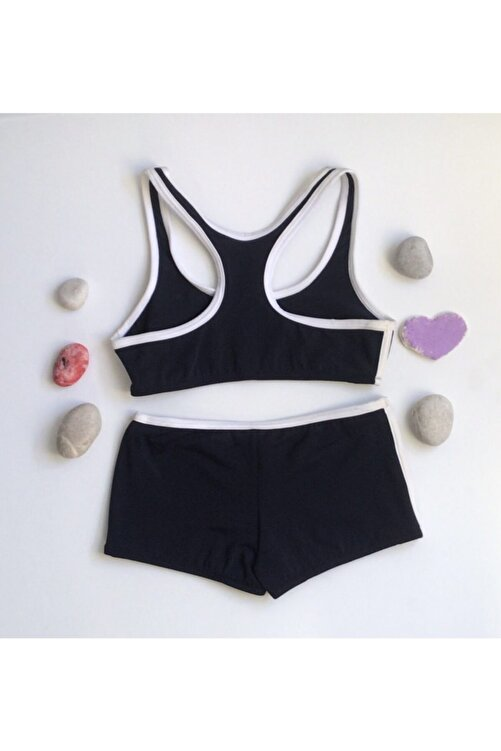 Kom Kız Çocuk Sporcu Bikini Lacivert Şortlu Bikini 2
