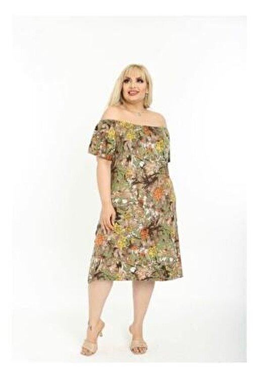 NİL SU BUTİK Kadın Büyük Beden Çiçek Baskılı Viskon Elbise 1
