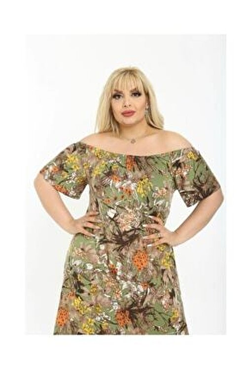 NİL SU BUTİK Kadın Büyük Beden Çiçek Baskılı Viskon Elbise 2