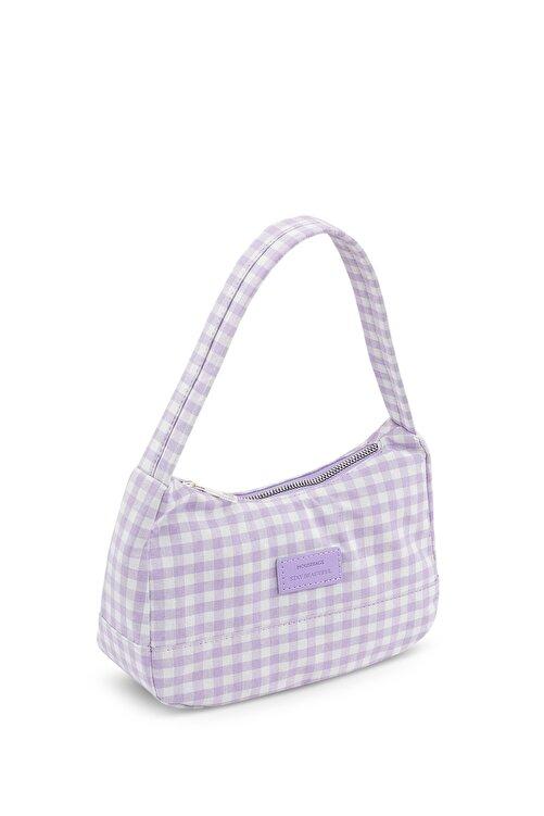 Housebags Kadın Pötikareli Lila Baguette Çanta 197 2