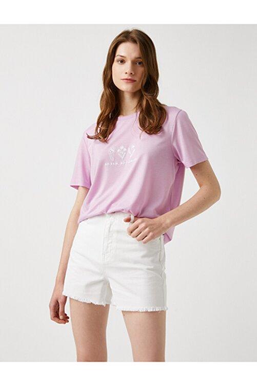 Koton Kadın Lila T-Shirt 2