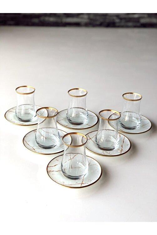 GÜRCÜGLASS Beyaz Mermer 12 Prç Çay Seti. 1