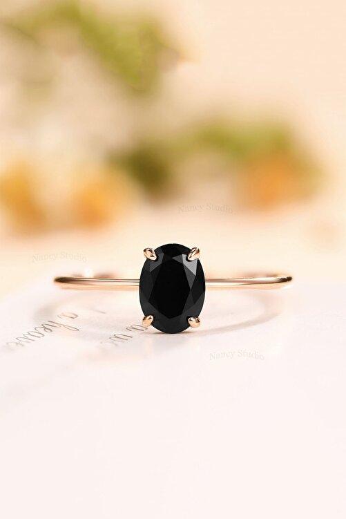 LOTUS GÜMÜŞ Oval Dişli Model Siyah Zirkon Taşlı 14k Rose Altın Kaplama Kadın Yüzük 1