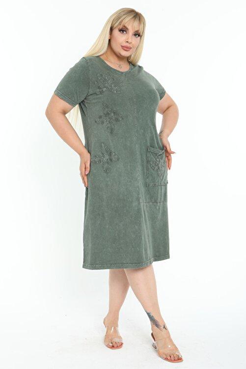 Mooi XXL Kadın Yıkamalı Haki Otantik Aplikeli Büyük Beden Elbise 2