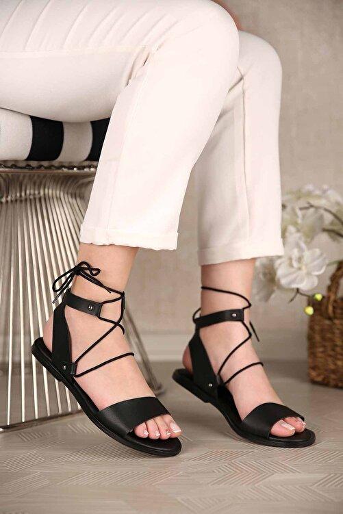 Ccway Kadın Bağlamalı Sandalet Siyah 2