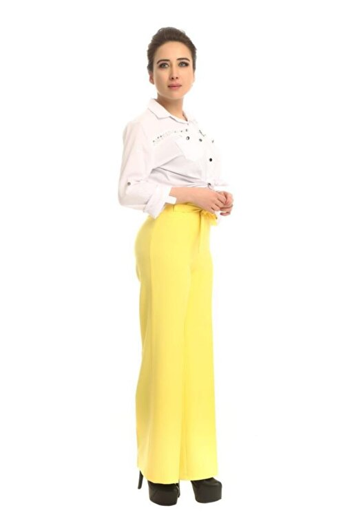 Modkofoni Kuşaklı Bol Paça Sarı Pantolon 2