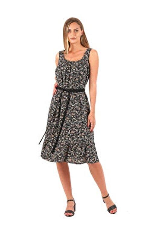 İlayda Kalın Askılı Çiçek Desen Elbise 2