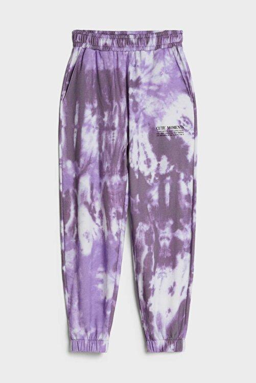 Bershka Kadın Mor Batik Desenli Jogging Fit Pantolon 05226831 2