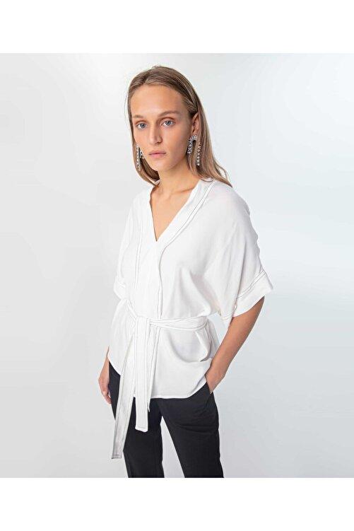 İpekyol Kadın Kırık Beyaz Düşük Kol Bluz 2
