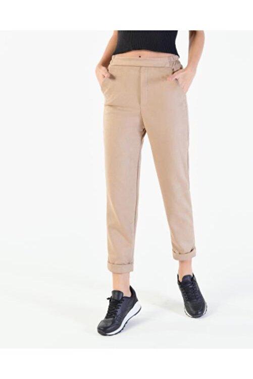 Vision Kadın Bej Katlama Paça Süet Pantolon 1