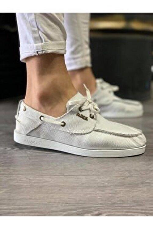 Knack Mevsimlik Keten Ayakkabı 008 Beyaz 1