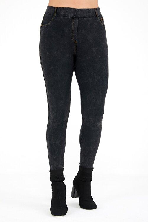 Siyezen Büyük Beden Füme Jean Görünümlü Tayt Pantolon 2