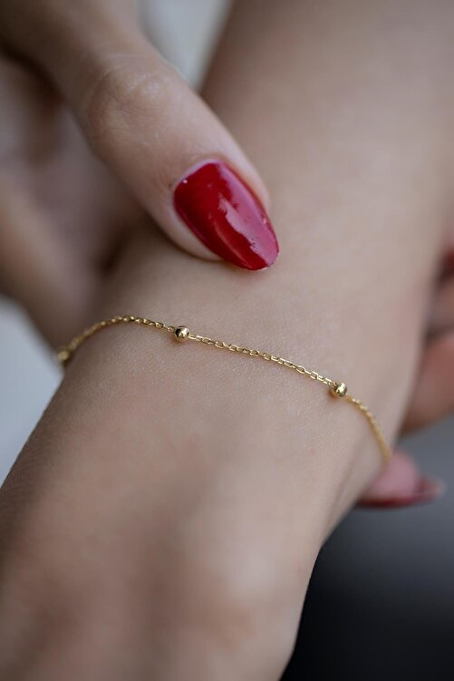 Marbling Kadın Top Model Gold Zincir Bileklik Ebr6002 1