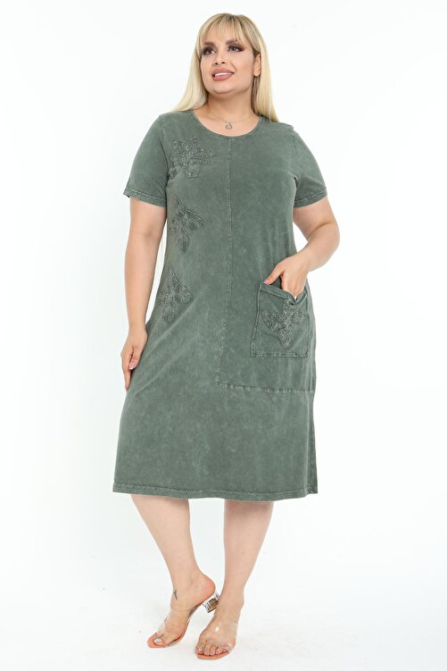 Mooi XXL Kadın Yıkamalı Haki Otantik Aplikeli Büyük Beden Elbise 1