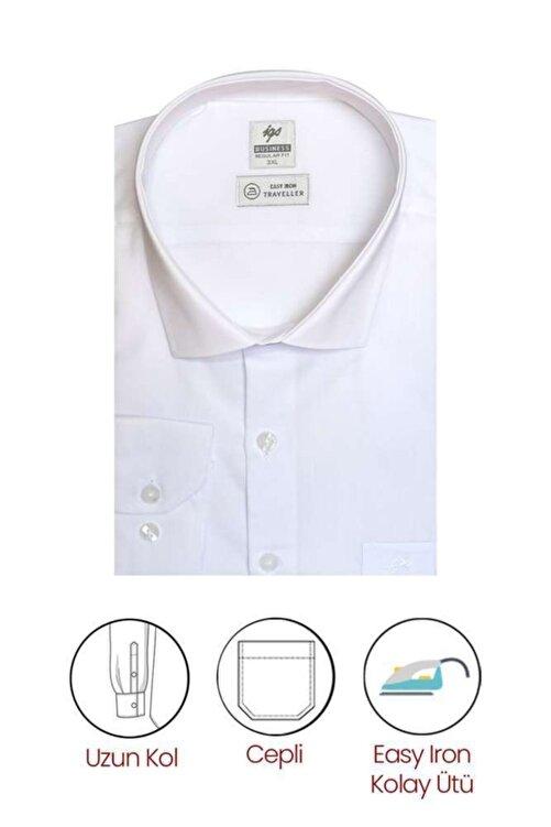 İgs Erkek Beyaz Regularfıt / Rahat Kalıp 7 Cm Klasik Gömlek 2