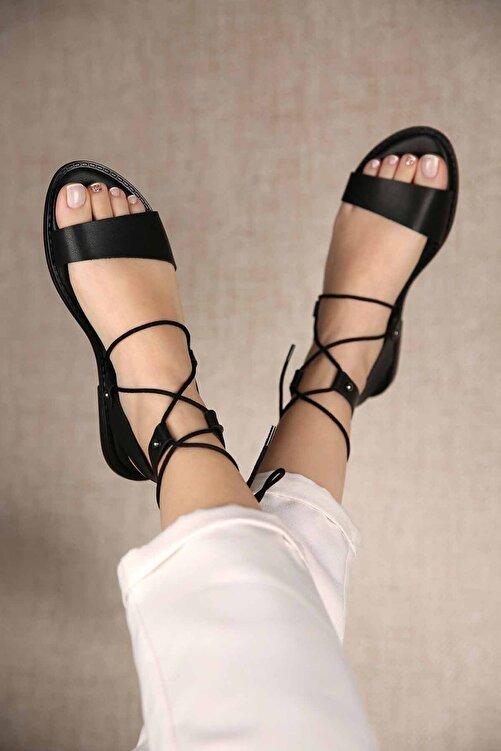 Ccway Kadın Bağlamalı Sandalet Siyah 1