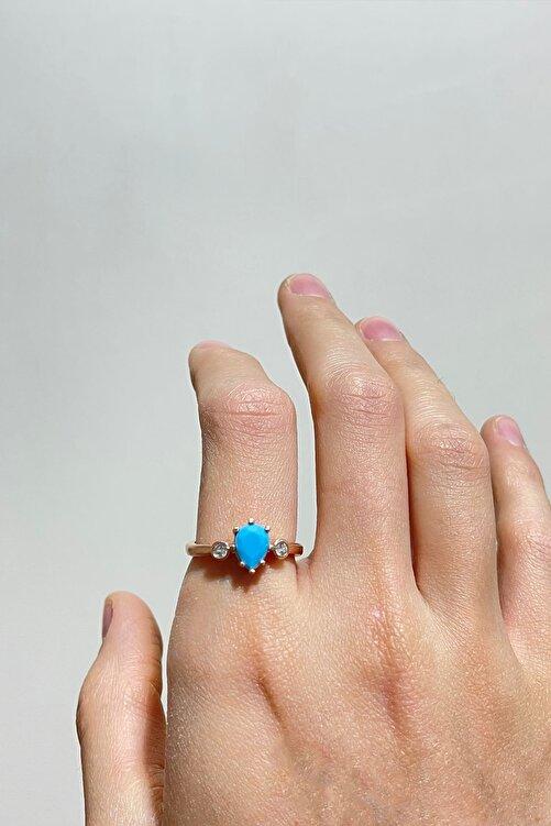 LOTUS GÜMÜŞ Mistik Topaz Mavi Firuze Taşlı Ayarlanabilir 14 K Rose Altın Kaplama Kadın Yüzük 2
