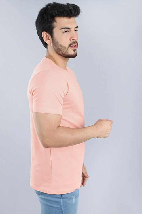 Arlin Erkek Bisiklet Yaka Slim Fit Kısa Kollu Yavruağzı T-shirt 2